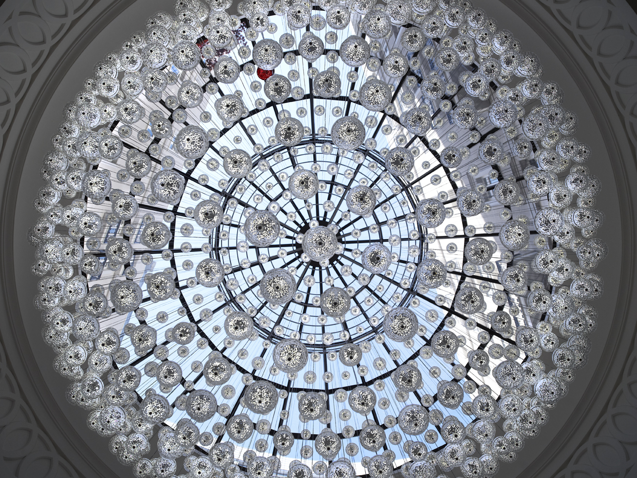Baccarat Chandelier full view Corinthia Hotel London