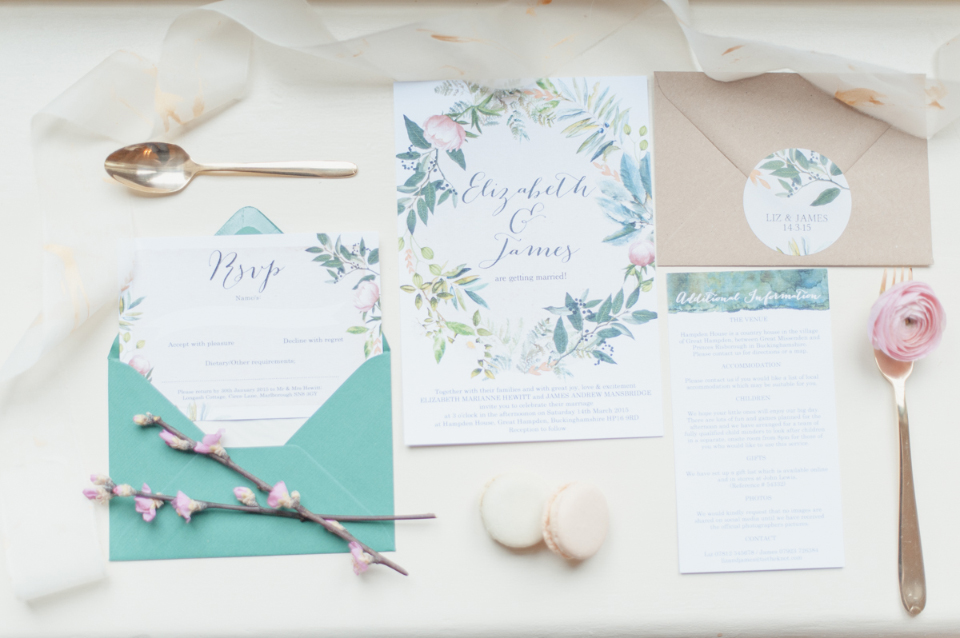 Green Peach Floral Wreath Wedding Invitations and stationery by Hip Hip Hooray IMAGE BY PLENTY TO DECLARE styled by Alexandria Events
