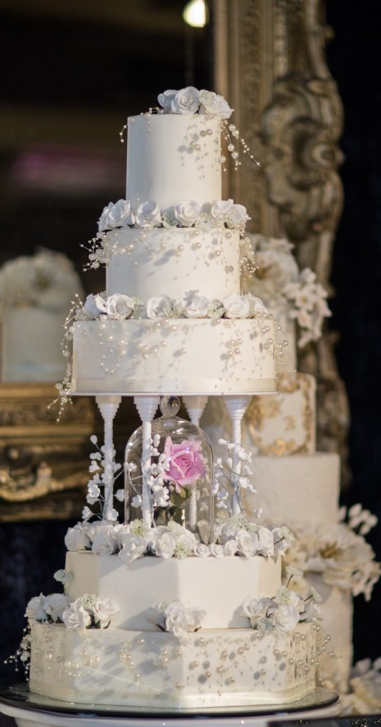 Luxury White Five Tier Wedding Cake With Crystals By Tees Bakery