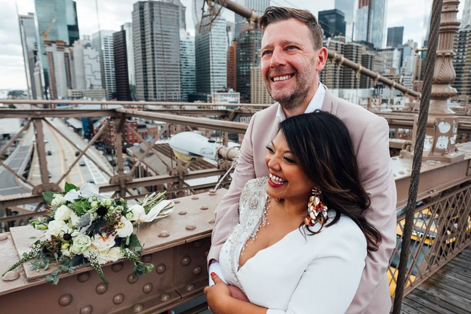 multicultural wedding couple just married on rooftop in NYC