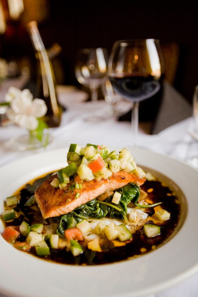 delicious plate of salmon and vegetables