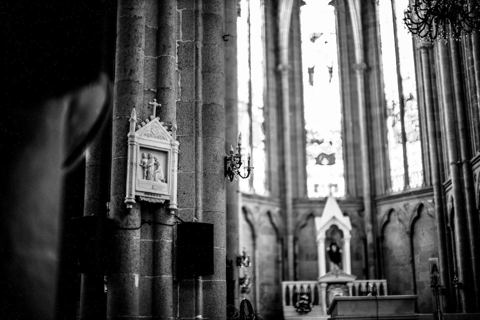 black and white interior of a church