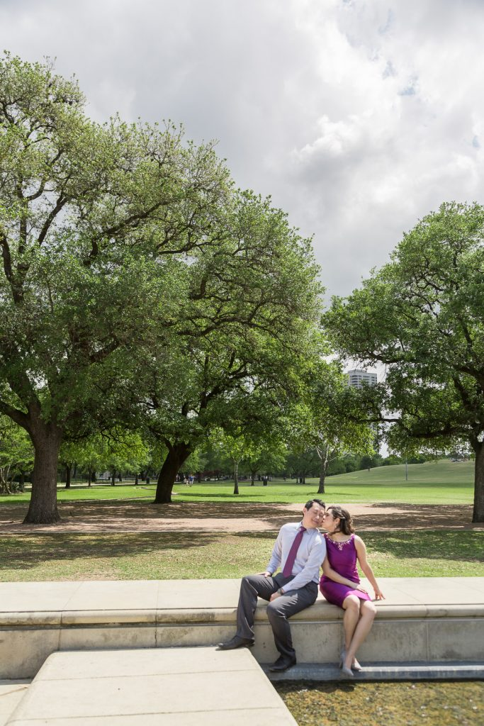 Beautiful Garden engagement session at McGovern Centennial Gardens and Hermann Park in Houston Texas