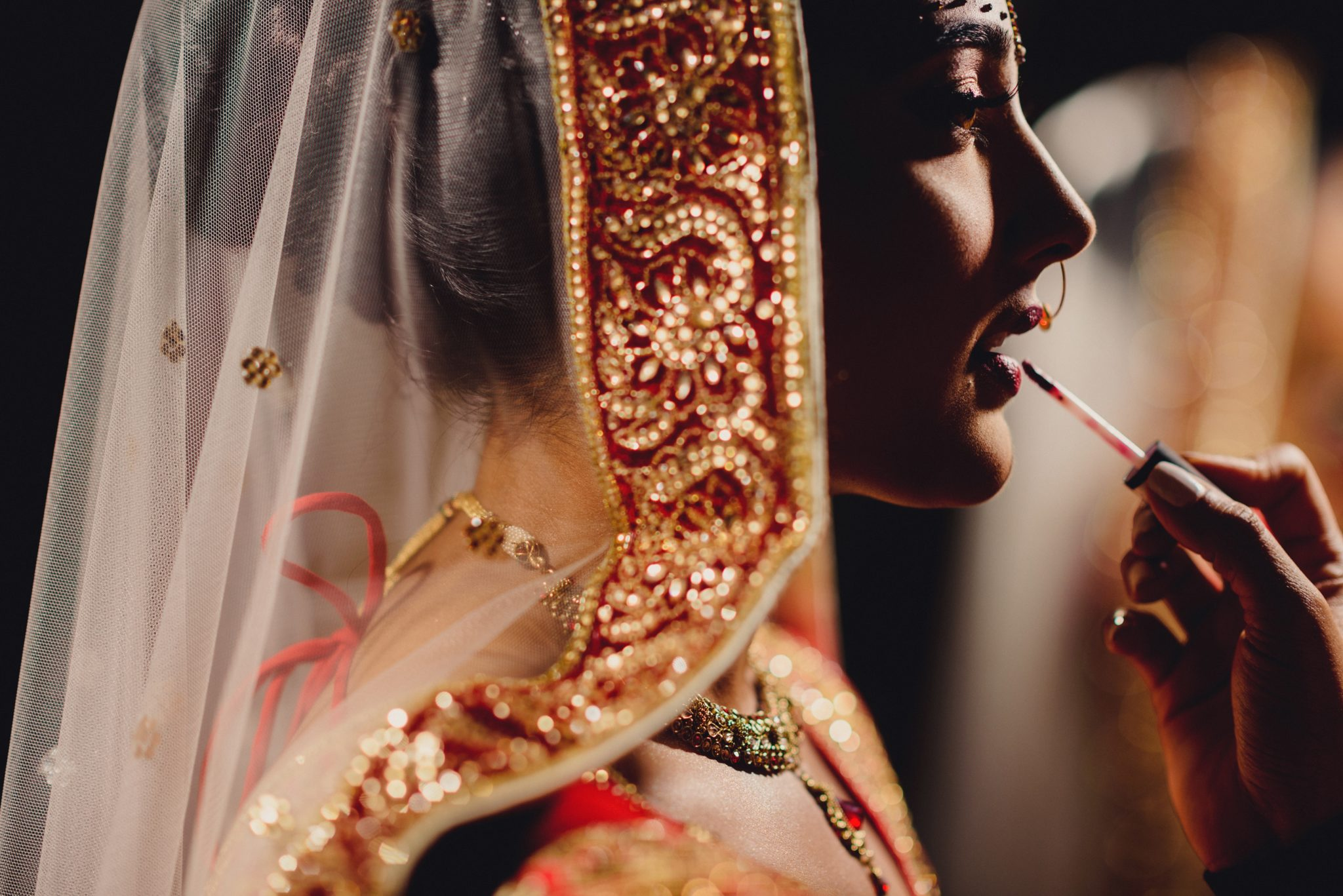 Bride getting ready Romantic Contemporary Indian-Sri Lankan Wedding