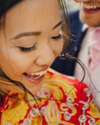 Bride and groom portrait Fun Elegant British Chinese Wedding at Hartsfield Manor